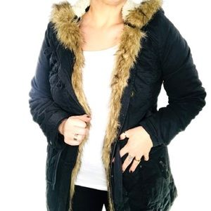 NWOT Navy faux Sherpa lined Jacket